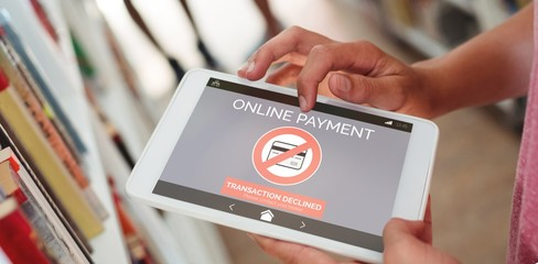 Composite image of online payment text on phone screen
