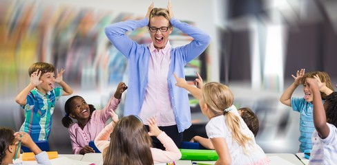 Composite image of frustrated teacher with naughty students