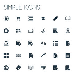 Vector Illustration Set Of Simple Education Icons. Elements Favored Book, Plume, Construction And Other Synonyms Row, Writing And Plume.