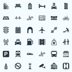Vector Illustration Set Of Simple Infrastructure Icons. Elements Kiosk, Staircase, Autobus And Other Synonyms Taxicab, Rope And Connection.