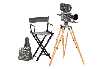 Cinema concept. Movie camera with film reels, chair, megaphone and clapperboard. 3D rendering