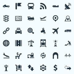 Vector Illustration Set Of Simple City Icons. Elements International, Road, Air Traffic Safety And Other Synonyms Worldwide, Chain And Road.