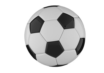 Leather black and white football ball. Soccer ball. 3D rendering