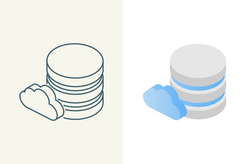 Cloud database isometric linear and flat icons Wall mural