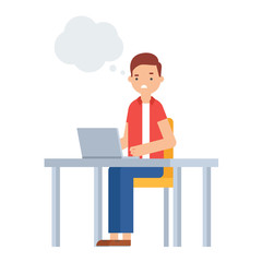 Vector illustration of confused man sitting at the table with a laptop