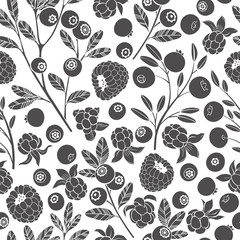 Seamless vector pattern with cranberry, blueberry, raspberry and cloudberry. Black silhouettes of berries on a white background. Forest berries.