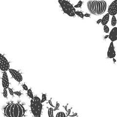 Floral background with cacti. Vector illustration with space for text. Corner composition. Black silhouettes of plants on white background.