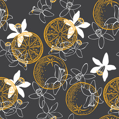 Orange fruit and blossom. Seamless vector pattern.