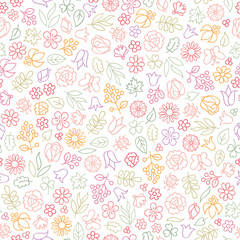 Flower icon seamless pattern. Floral leaves, flowers. Summer ornament