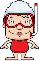 Cartoon Smiling Snorkeler Woman