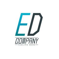 Initial Letter ED Rounded Design Logo