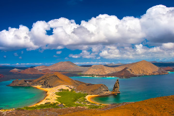 Tuinposter Eiland Galapagos Islands. Travel to Ecuador. Bartolome Island. San Salvador Island.