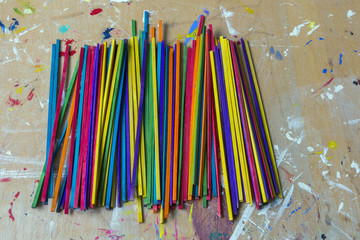 Vibrant craft sticks used in a school for art projects