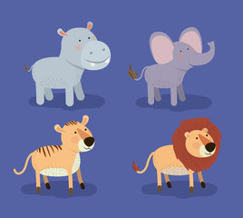 set animal caricature of african safari in color background vector illustration