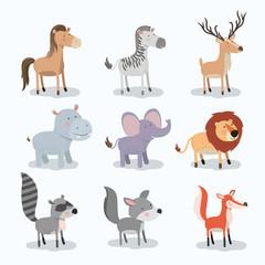 set animal caricature of wildlife in white background vector illustration