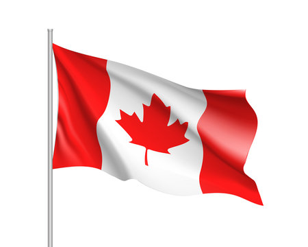 Waving flag of Canada. Illustration of North America country flag on flagpole. 3d vector icon isolated on white background