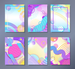 Abstract posters set in trendy 80s-90s memphis style with patterns, frames and geometric shapes, colorful background with text place, vector illustration