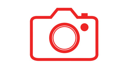Simple DSLR camera icon red