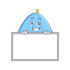 Grinning with board blue umbrella character cartoon