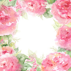 Watercolor pink tea rose peony flower floral composition frame