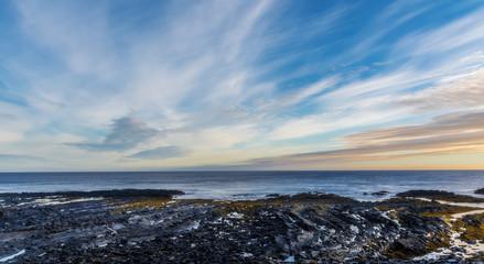 Sunrise on the shore of the Barents Sea. Cape Kekursky. Kola Peninsula, Russia. Wall mural