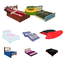 The set of images on the theme of sleep and rest. Different beds for every taste and color.Bed icon in set collection on cartoon style vector symbol stock illustration.