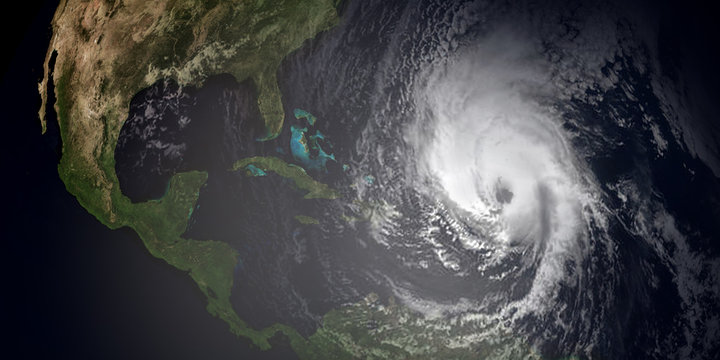 Extremely detailed and realistic high resolution 3d illustration of hurricane irma hitting the Caribbean Islands. Shot from Space. Elements of this image are furnished by Nasa.