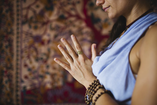 Closed hands in namaste gesture