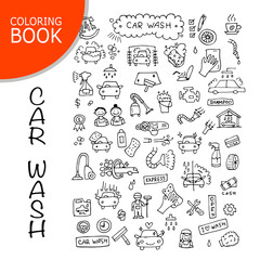 Car washing, vector icons sketch for your design