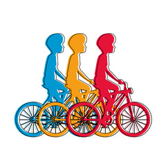 cycling people riding a bicycle vector illustration design