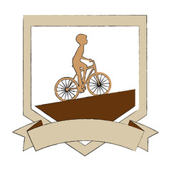 cycling man riding a bicycle elegant frame vector illustration design