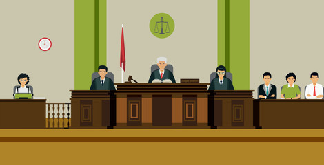 The judge and the jury sit on the throne in the courtroom.