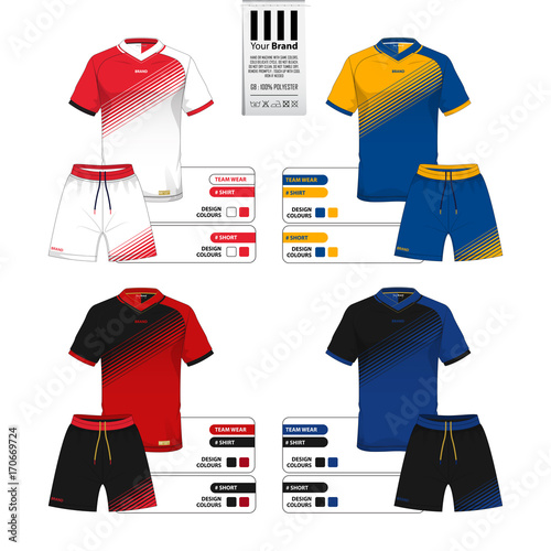 set of soccer jersey or football kit and short pant template for