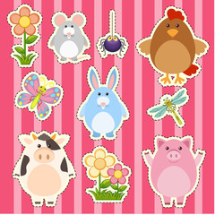 Sticker design with cute animals and flowers