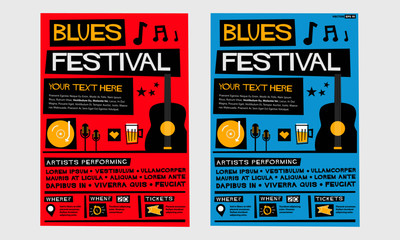 Blues Festival (Flat Style Vector Illustration Quote Poster Design) Event Invitation with Venue, Artist, Ticket and Time Details Fotomurales