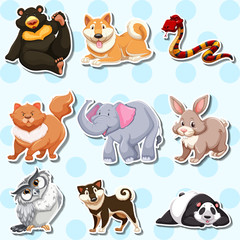 Sticker design with wild animals on blue background