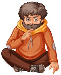 Man in orange sweatshirt sitting