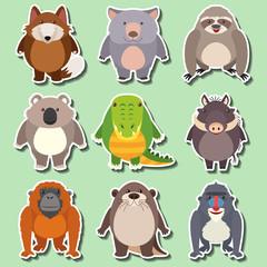 Sticker design for wild animals on green background