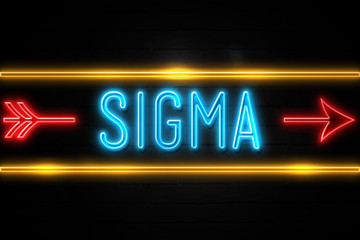 Sigma  - fluorescent Neon Sign on brickwall Front view