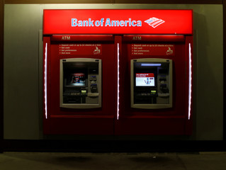 Two ATMs are pictured at a Bank of America location in Pasadena
