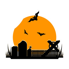 Silhouette of halloween background with large moon, bats and graveyard