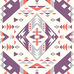 Seamless Ethnic pattern textures. Orange & Purple colors. Navajo geometric print. Rustic decorative ornament. Abstract geometric pattern. Native American pattern. Ornament for the design of clothing