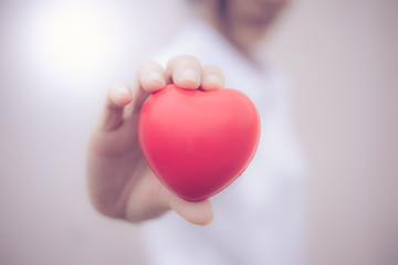 red heart in hand love concept valentine day.