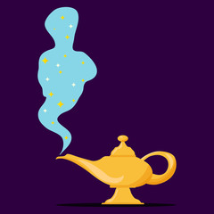 Lamp Aladdin with gin, the magic lamp of Aladdin