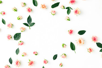 Floral pattern, pink roses, green leaves, white background, Flat lay