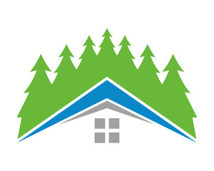 spruce pine forest house home residence real estate icon image vector