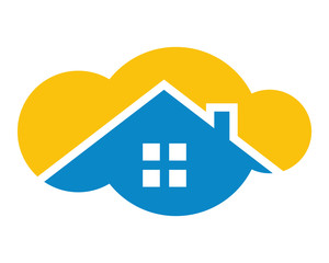 yellow cloud blue roof silhouette house home residence real estate icon image vector