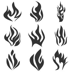 Fire flames tattoo set