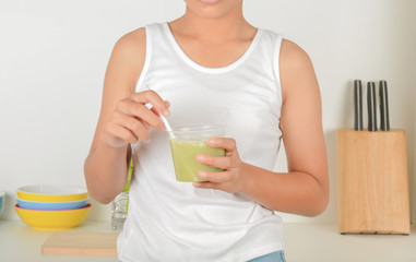 Teenagers with apple juice