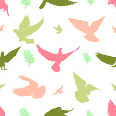Illustration of Seamless pattern the doves are flying texture background.